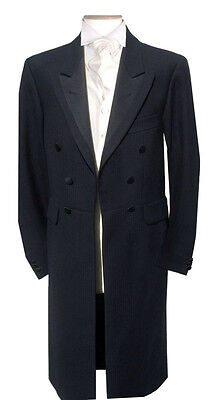 Men's Black Wool Herringbone Frock Coat Satin Wedding Funeral Dress Steam Punk