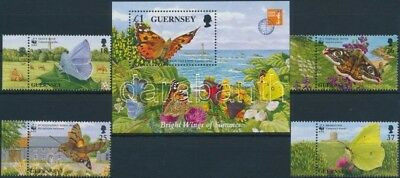 GB Guernsey stamp Butterflies margin set + block MNH 1997 WS176465