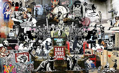 """Painting BANKSY Street Art Canvas Print Collage montage 24"""" X16"""" stencil poster"""