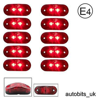 10 Pcs Red 24V 2 Led Side Tail Rear Marker Lamp Lights Truck Lorry Bus E-Mark