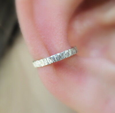 Fake Piercing Ear Cuff Conch Cuff Textured Hammered Sterling Silver 2 mm Wide