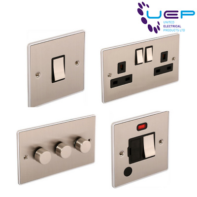 Urban Edge Range - Brushed Chrome Sockets & Switches - Black Trim