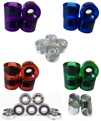 60mm 78A Skateboard Longboard Wheels  with Bearing Abec 9 Clear Multi Color