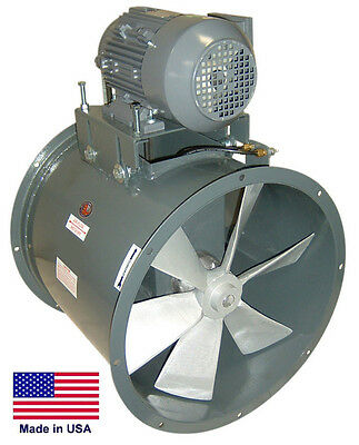 "TUBE AXIAL DUCT FAN - Belt Drive - 24"" - 3 Hp - 1 Phase - 115/230V - 10,500 CFM"