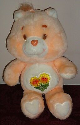 "Care Bears Vintage 1983 FRIEND BEAR 13"" Orange w/Flowers stuffed plush NICE!"