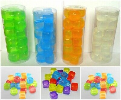 NEW ICE CUBES REUSABLE SQUARE ICE CUBES QUICK FREEZING Multi colour 18pc pack