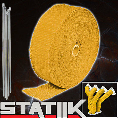 """YELLOW TURBO MANIFOLD HEAT EXHAUST THERMAL WRAP TAPE /& STAINLESS TIES 2/""""X25/' Z3"""