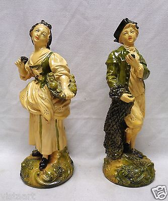 """Pair of Vintage 18th Century French Style Man & Woman w/ Fine Detail- 12"""" Tall"""