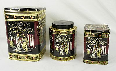 Lot Set Of 3 Vintage Asian Theme Litho Tins Canisters Made In England Tea Bin