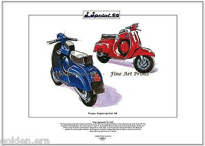VESPA SUPERSPRINT 90 Scooter Stampa Fine Art 90SS Roma Rosso & Blu Pavone
