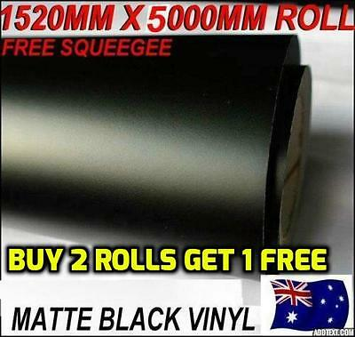 BRAND NEW Quality Matte Black Car Vinyl Wrap Sticker decals1.52 X 5 metre,OZ...