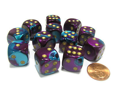 Gemini 16mm D6 Chessex Dice Block (12 Dice) - Purple-Teal with Gold Pips