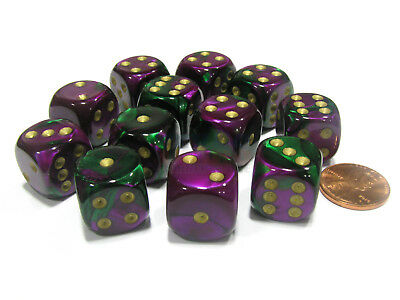 Gemini 16mm D6 Chessex Dice Block (12 Dice) - Green-Purple with Gold Pips
