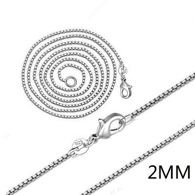 "Fashion Wholesale Lots 5pcs 925 Silver 2mm Box Chain Necklace 16""-24"" Jewelry"
