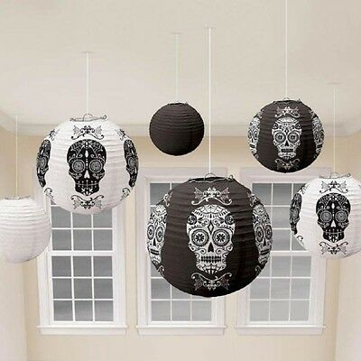 Paper Lanterns x 6 Halloween Sugar Skulls Black and White
