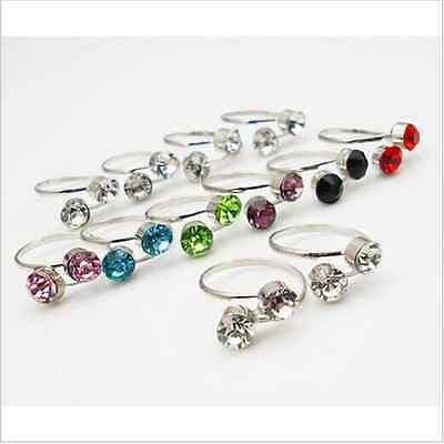 12X Elastic Crystal Toe Ring Mixed Color Wholesale Lot Body Jewelry Pack