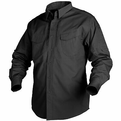 Helikon Tex Defender Long Sleeve Shirt Schwarz Black langarm Hemd Canvas Stoff