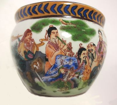 "Antique! ""the 8 Immortals"" Musicians Garden, Signed Chinese Porcelain Planter 4"""
