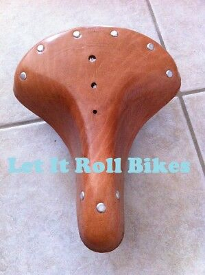 Vintage Classic Bicycle Seat Leather Brown Beach Cruiser Mtb Bikes Cycling New