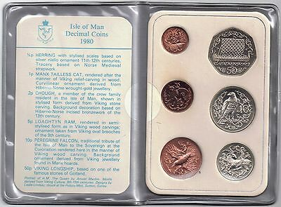 IOM Isle of Man Manx 1980 Decimal Coins Set [6] Queen Elizabeth 1952 - now