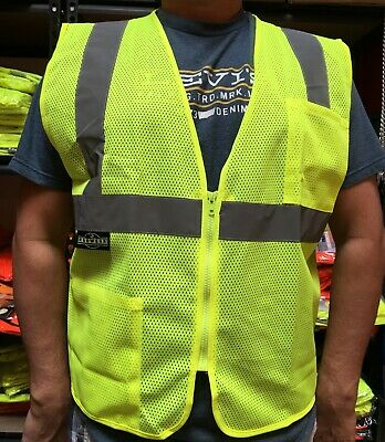 2 Pockets Solid Mesh High Visibility Safety Vest, ANSI/ ISEA 107-2010