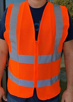 ANSI CLASS 2 High Visibility Safety Vest: Solid Orange Front/ Mesh Back