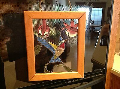 Hummingbird Framed Stained Glass With Hangers Ready To Hang Gorgeous Colors