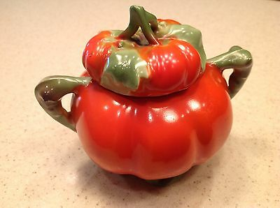"Vintage Figural Tomato Sugar Bowl Unmarked Royal Bayreuth 4"" tall Footed W/ Lid"