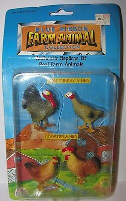 Chicken Hen Rooster Turkey Blue Ribbon Farm Animal Collection Toy Set Fun Rise