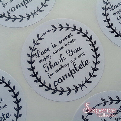 Matte white round wedding favour sticker labels. Love is Sweet, thank you  x 48