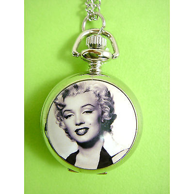 Marilyn Monroe Child Girl Kids Fashion Pocket Pendant Necklace Watch RARE