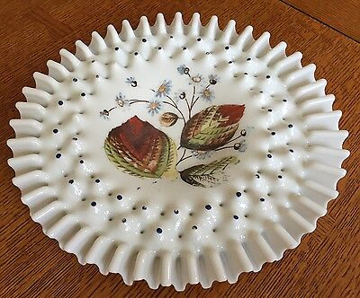 Antique Victorian Glass BRIDES BASKET Bowl Off White 10 In Across Enamel Flowers