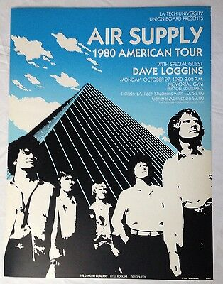 Vintage Air Supply 1980 American Tour Concert Poster Louisiana Tech University