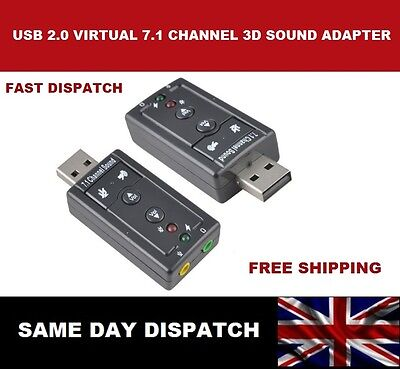 USB 7.1 Channel 3D Audio Sound Card Adapter For Desktop Laptop and Notebook