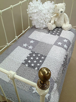 Grey Stars Baby Boys Girls Nursery Cot Quilt  Lachlan Stars Linens N Things