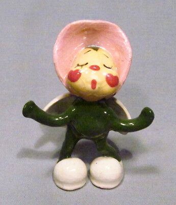 Hand-Painted Signed Pottery Mini Ladybug in Pink Bonnet Heart Wings & Slippers!