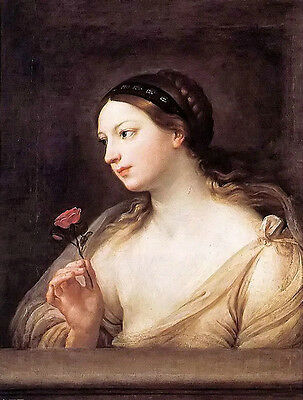 Stunning Oil painting Guido Reni - girl with a rose free shipping canvas NICE
