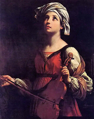 """Stunning Oil painting Guido Reni - Beautiful oung feale st cecilia & violin 36"""""""