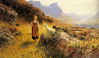 Oil painting Hans Dahl - an alpine landscape with a shepherdess and goats canvas