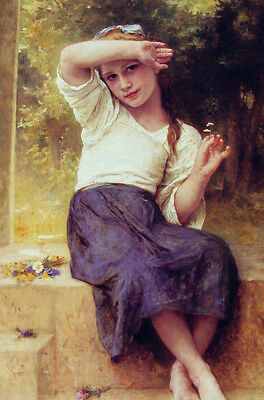 """Stunning Oil painting William-Adolphe Bouguereau - Marguerite nice youn girl 36"""""""