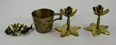 Lot of Vintage Small Brass Bells A Cup W Hunting Design & Rose Candle Holders