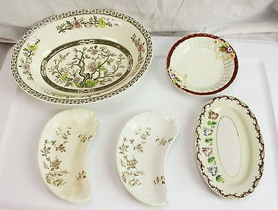 Lot of 5 Vintage Pieces of China Bone Plates Bowl Indian Tree Occupied Japan
