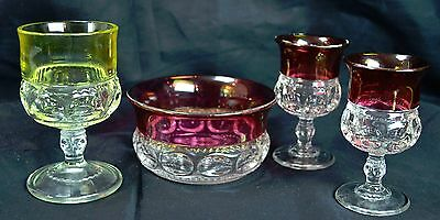Lot of 4 Pressed Patterned Glass With Red & Yellow Painted Tops Cordial & Bowl