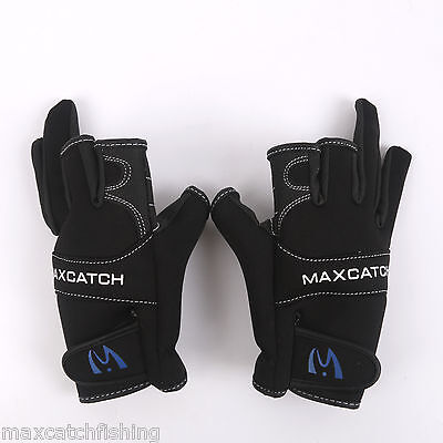 One Pair Black 3 Cut Fingerless Fishing Gloves Breathable Outdoor Gloves