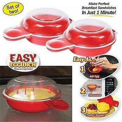 2 pcs Easy Cooking Eggwich Tool Non-Stick Fast Egg Make Microwave Egg Cooker Y2