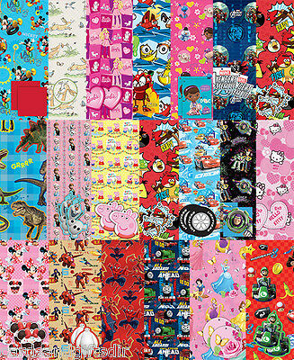 Officially Licensed Character Gift Wrap Paper 2 Sheets & 2 Tags Wrapping Paper