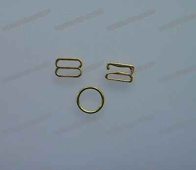 10mm 100 sets Gold Metal Bra strap Adjustment slide Rings hook Figure 8 & 9 & 0