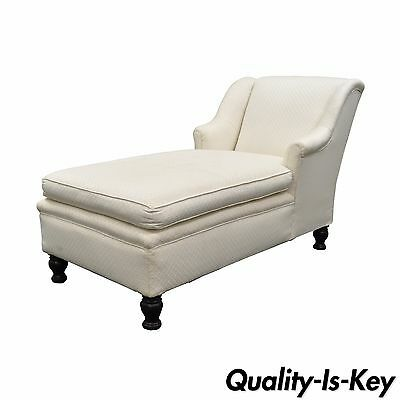 Antique French Style Chaise Lounge Fainting Couch Sofa Bun Feet Recamier vintage