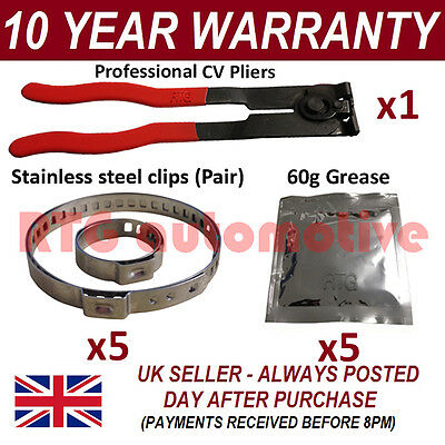CV BOOT CLAMPS PAIR INNER /& OUTER x10 CV GREASE x10 GARAGE TRADE PACK KIT 2.10