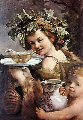 Stunning Oil painting Guido Reni - the boy bacchus with wine bowl grape canvas